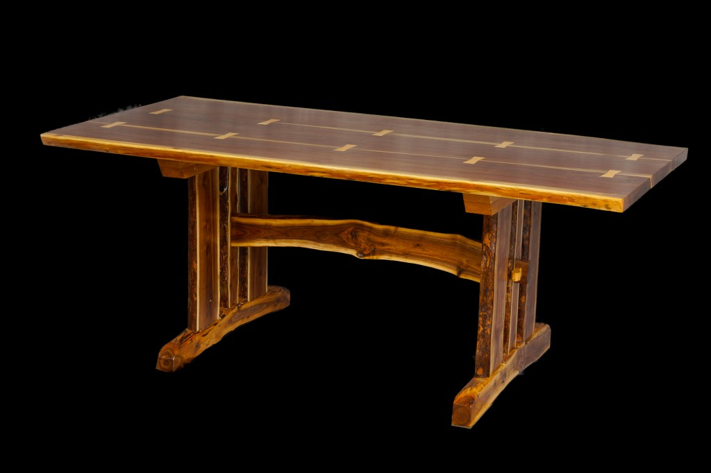 Live Edge Walnut Slab Trestle Table Duane Shoup Woodcraftsman Wildwood Rustic Furniture