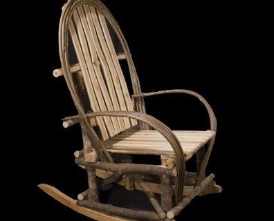 Rustic bentwood rocker, Hard maple bark on frame, hazel and ash used for  arm and back bent parts. Split ash limbs used for seat and back. Birch  rockers.